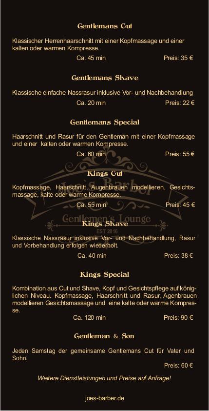 Joe´s Barber und Gentlemen´s Lounge Preisliste auf mein-vollbart.de