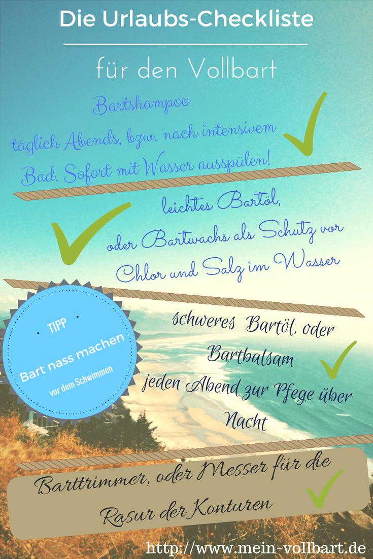 Checkliste für den Urlaub auf mein-vollbart.de